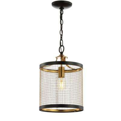 Elena 10 in. 1-Light Black/Brass Gold Lantern Metal LED Pendant