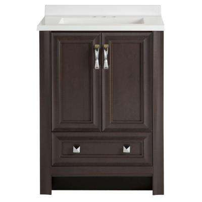 Candlesby 24 in. W x 19 in. D Bathroom Vanity in Pewter with Cultured Marble Vanity Vanity Top in White