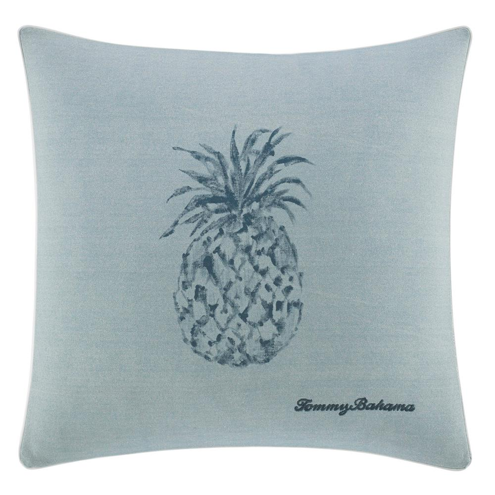 Raw Coast Blue Pineapple 22 in. x 22 in. Throw Pillow, Light Blue The Tommy Bahama Raw Coast Square Throw Pillow adds a gorgeous tropical touch to your bedding set with a printed tonal pineapple on a chambray blue ground. The all-cotton throw pillow is soft to the touch and features an embroidered Tommy Bahamas signature at the bottom right corner. Pillow is machine washable for easy care and features an envelope closure. Dimensions: (22 in. x 22 in.). Color: Light Blue.