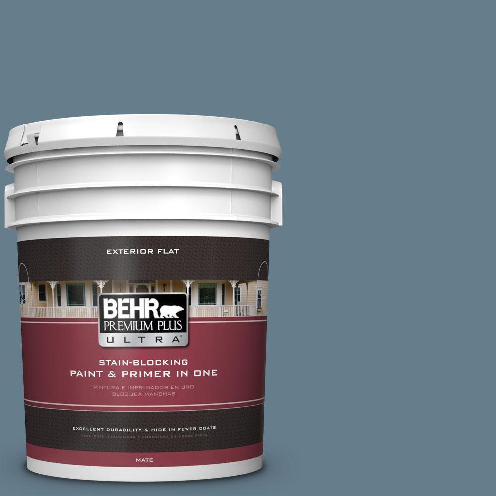 BEHR Premium Plus Ultra 5-gal. #ECC-31-1 Windy Seas Flat Exterior Paint