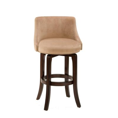 Napa Valley 29.75 in. Dark Brown Cherry/Khaki Faux Suede Swivel Bar Stool