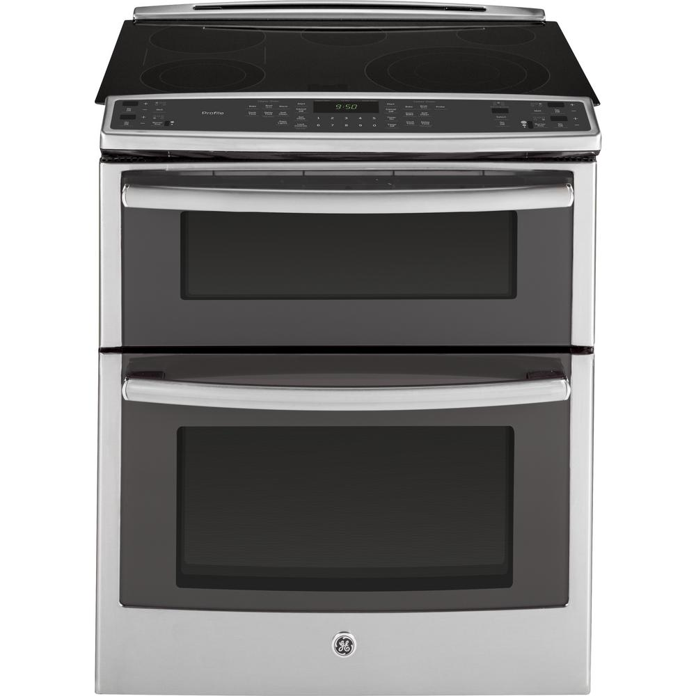 GE Profile 6.6 cu. ft. Slide-In Double Oven Electric Range with Convection (Lower Oven) in Stainless Steel