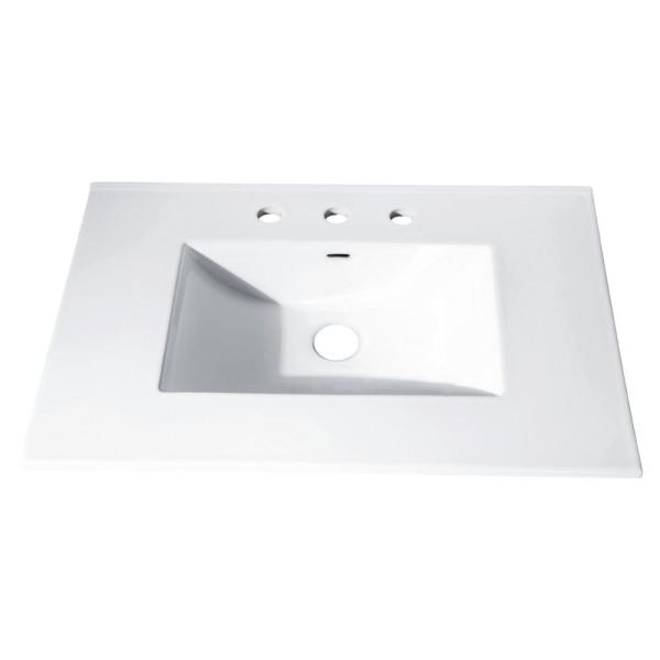 31 in. x 22 in. Vitreous China Vanity Top with Rectangular Bowl in White