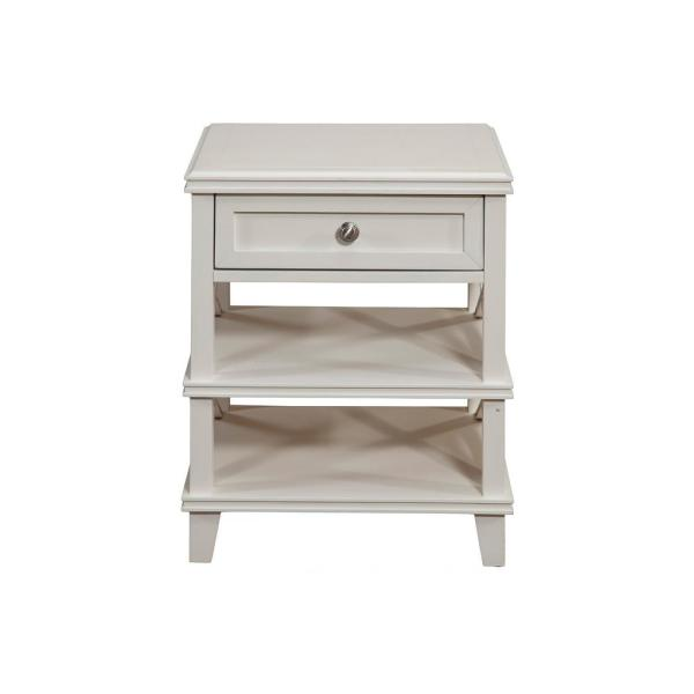 Potter 1-Drawer, 2-Open Shelves White Nightstand