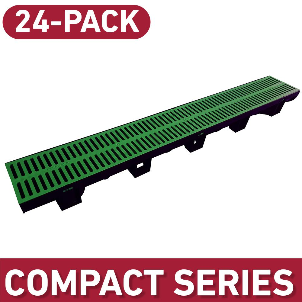 U.S. TRENCH DRAIN Compact Series 5.4 in. W x 3.2 in. D 39.4 in. L Trench and Channel Drain Kit w/ Green Grates (24-Pack : 78.8 ft), Black/Green was $577.99 now $400.0 (31.0% off)
