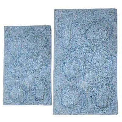 Pebble Light Blue 20 in. x 30 in. and 40 in. x 24 in. 2-Piece Bath Rug Set