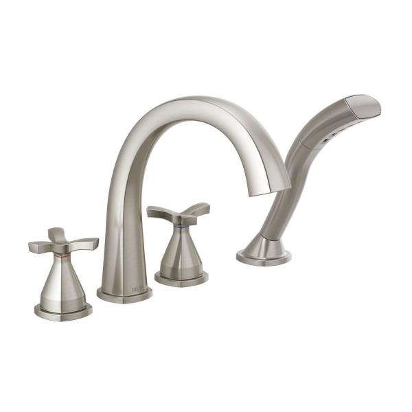 Stryke 2-Handle Deck Mount Roman Tub Faucet Trim Kit in Stainless with Hand Shower (Valve Not Included)