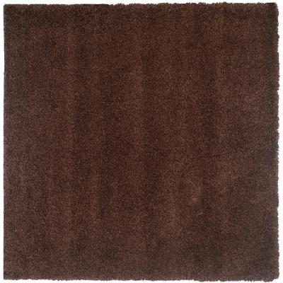 California Shag Brown 4 ft. x 4 ft. Square Area Rug