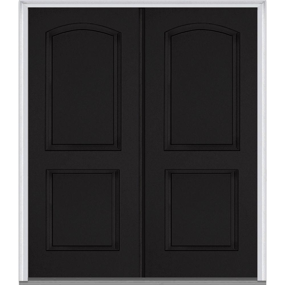 MMI Door 72 in. x 80 in. Classic Right-Hand Inswing 2-Panel Archtop Painted Fiberglass Smooth Prehung Front Door with Brickmould