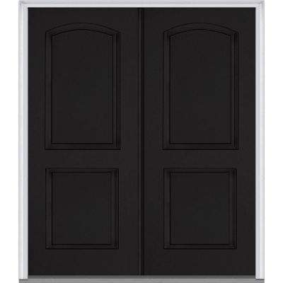 72 in. x 80 in. Classic Right-Hand Inswing 2-Panel Archtop Painted Fiberglass Smooth Prehung Front Door with Brickmould