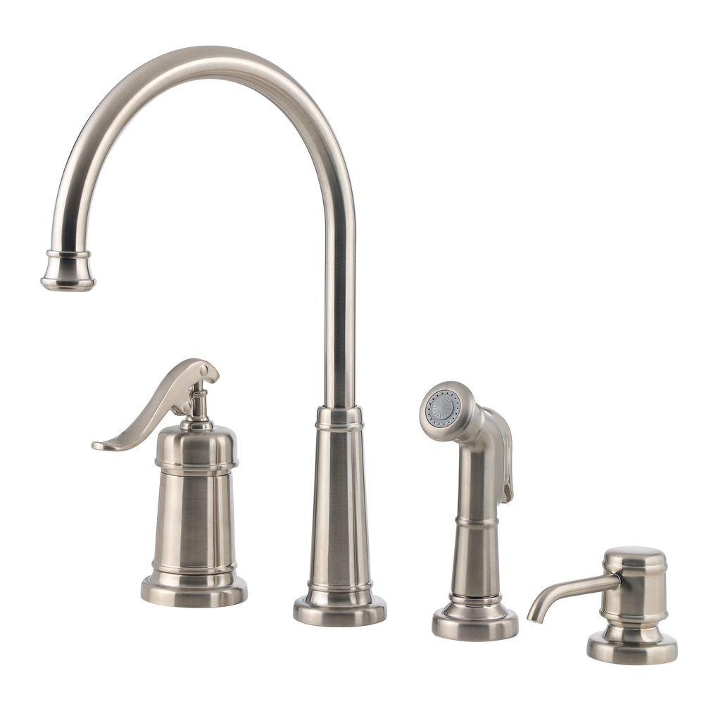 Pfister Ashfield Single Handle Standard Kitchen Faucet With Side Sprayer And Soap Dispenser In Brushed