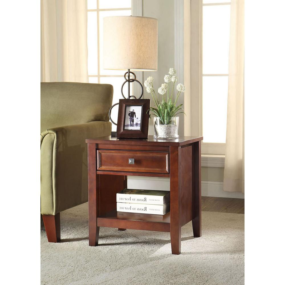 linon home decor wander cherry storage end table 770000chy01u the home depot. Black Bedroom Furniture Sets. Home Design Ideas