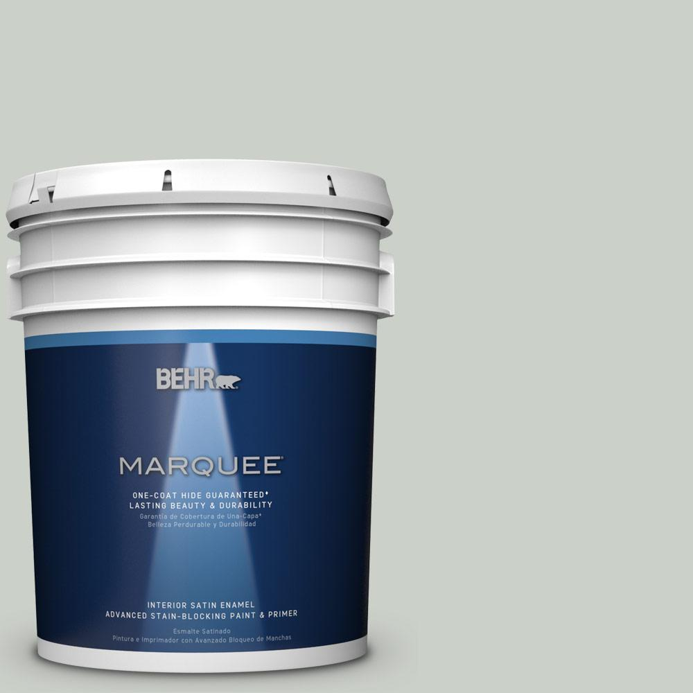 5 gal. #MQ3-48 Shy Green One-Coat Hide Satin Enamel Interior Paint