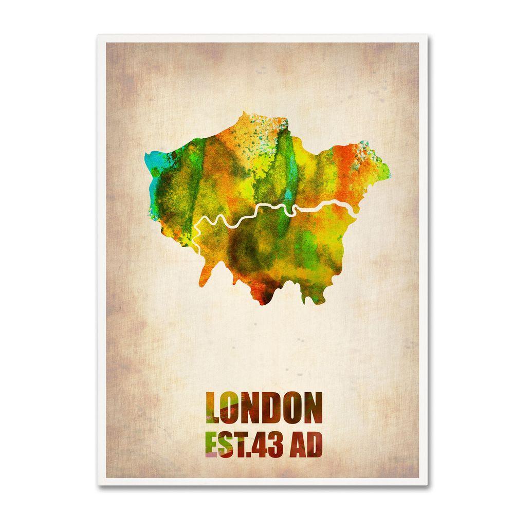19 in. x 14 in. London Watercolor Map Canvas Art