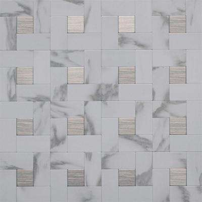 12 In. X 12 In. Peel And Stick Faux White Marble And Brushed Stainless