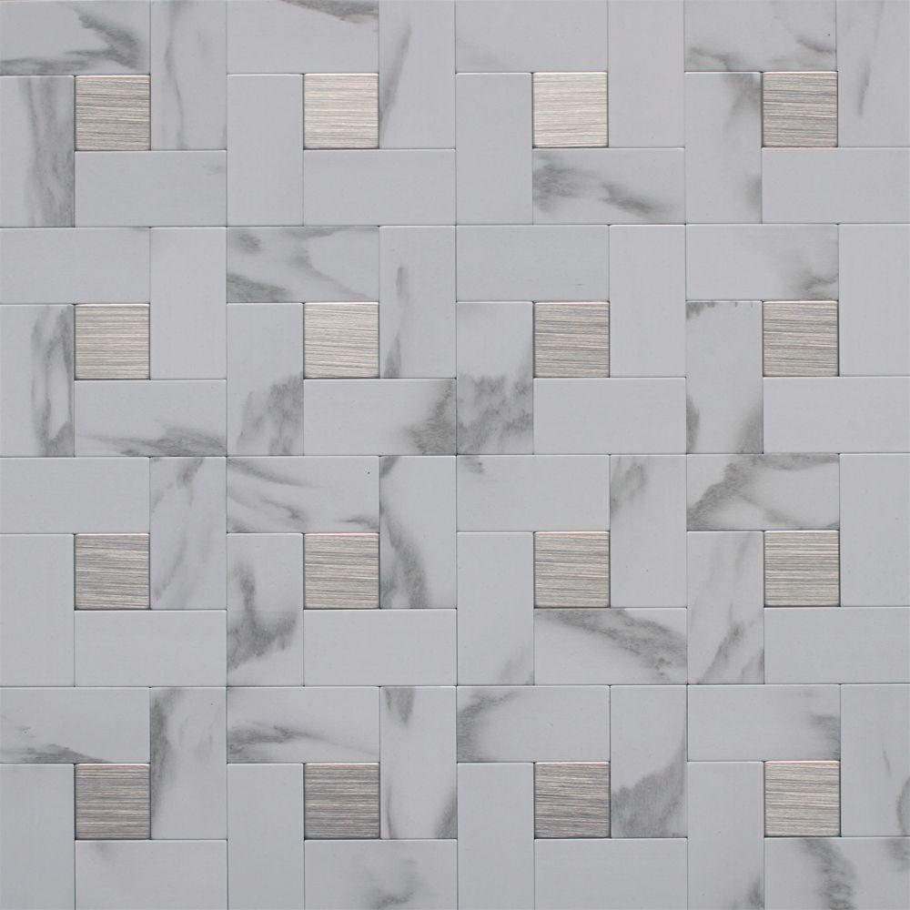 Metal Backsplash Tile In Faux White Marble