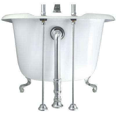 24 in. Brass Straight Bath Supply in Chrome