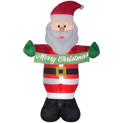 5 ft. W x 8 ft. H Inflatable Animated Santa with Banner Merry Christmas