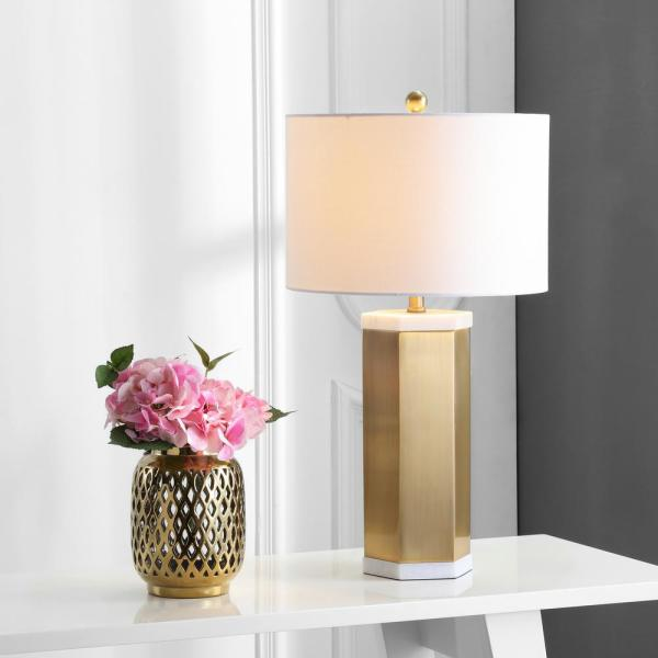 Safavieh Alya 28 In White Brass Gold Table Lamp With White Shade Set Of 2 Tbl4047a Set2 The Home Depot