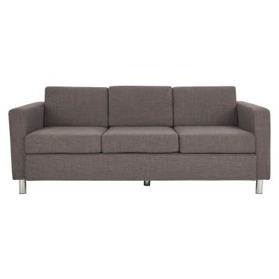 Pacific Cement Fabric Sofa with Chrome Legs