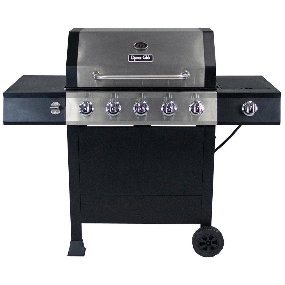 Dyna-Glo 5-Burner Open Cart LP Gas Grill in Stainless Steel and Black with Side Burner