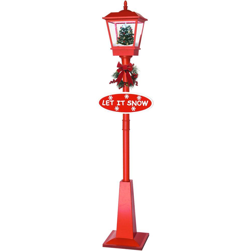 Fraser Hill Farm 71 In. Musical Lantern Lamp Post In Red