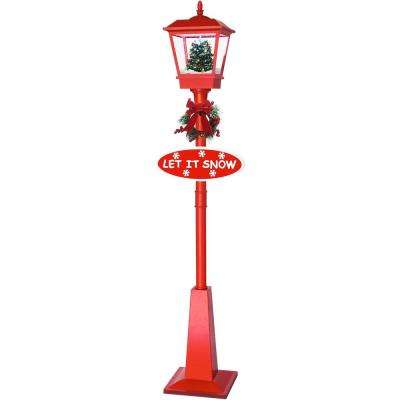 71 in. Musical Lantern Lamp Post in Red Featuring Christmas Tree Scene and Snow Function
