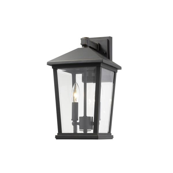 2-Light Oil Rubbed Bronze Outdoor Wall Sconce with Clear Beveled Glass