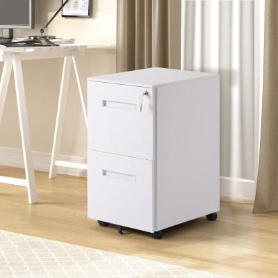 White 2-Drawers File Cabinet with Lock Fully Assembled Except Wheels