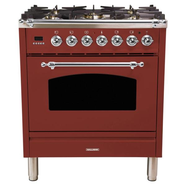 30 in. 3.0 cu. ft. Single Oven Italian Gas Range with True Convection, 5 Burners, Chrome Trim in Burgundy