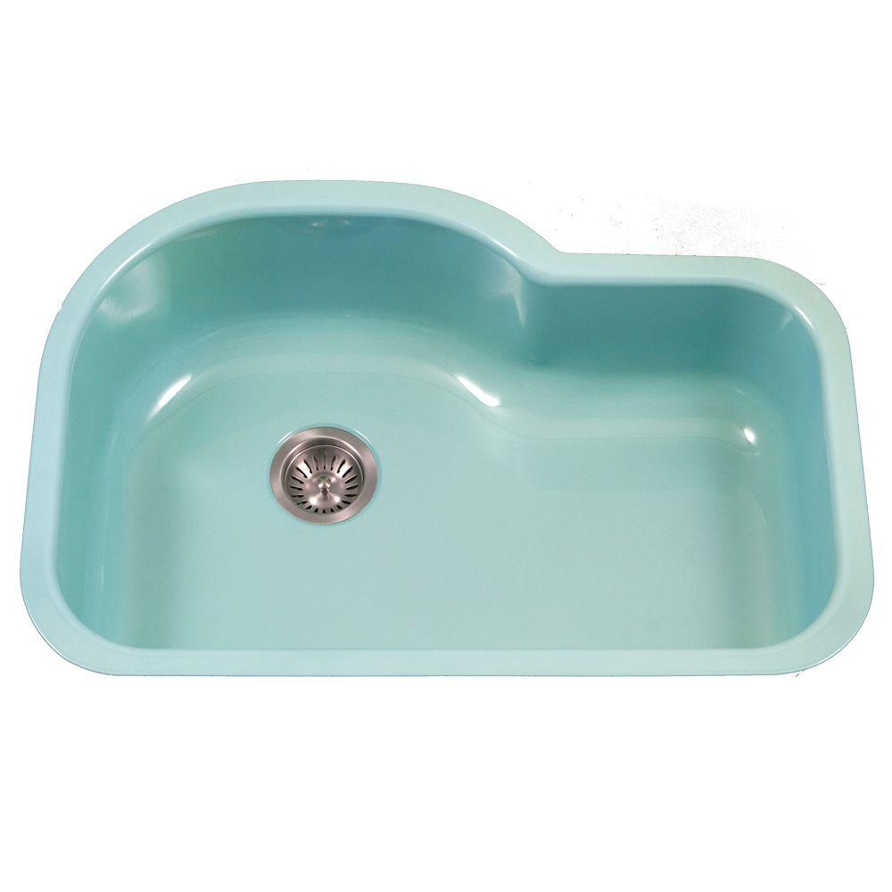 HOUZER Porcela Series Undermount Porcelain Enamel Steel 31 in. Offset Single Bowl Kitchen Sink in Mint