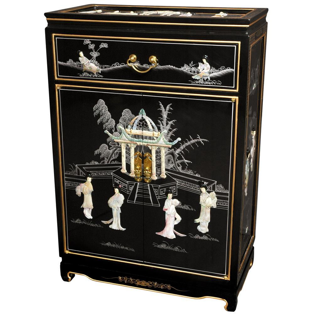 Oriental furniture black lacquer ladies shoe cabinet