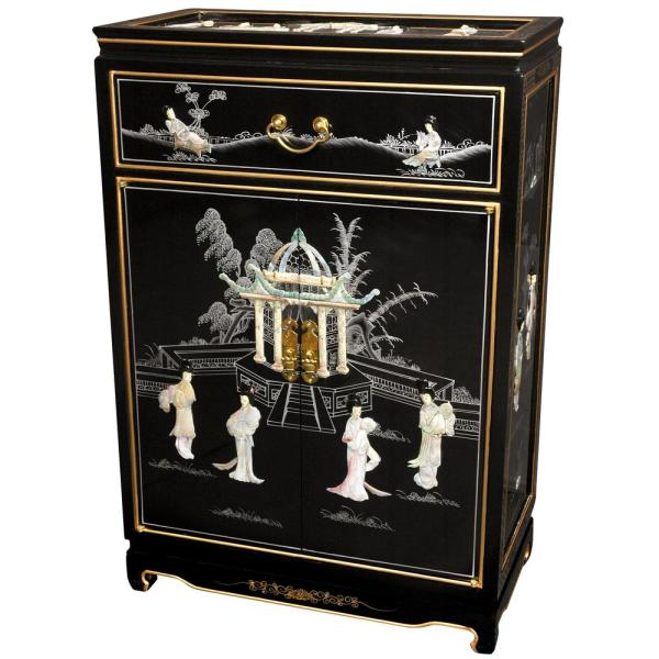 Oriental Furniture Black Lacquer Las Shoe Cabinet