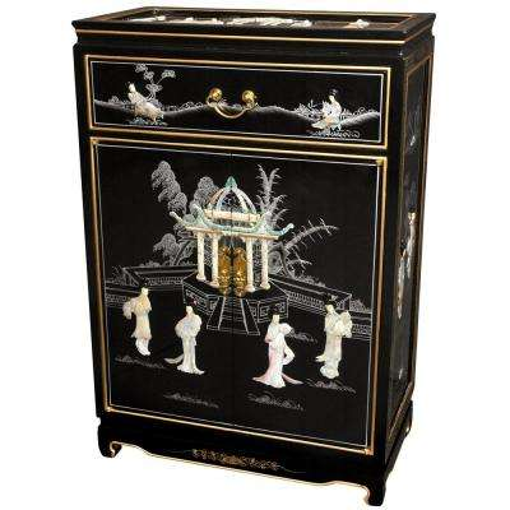 Oriental Furniture Black Lacquer Ladies Shoe Cabinet