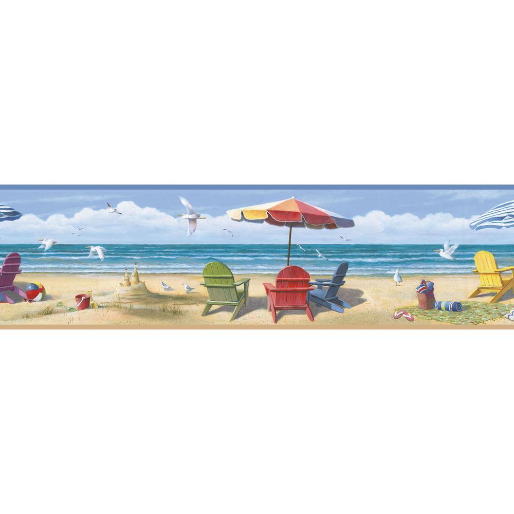 Lori Blue Summer Beach Portrait Wallpaper Border Sample