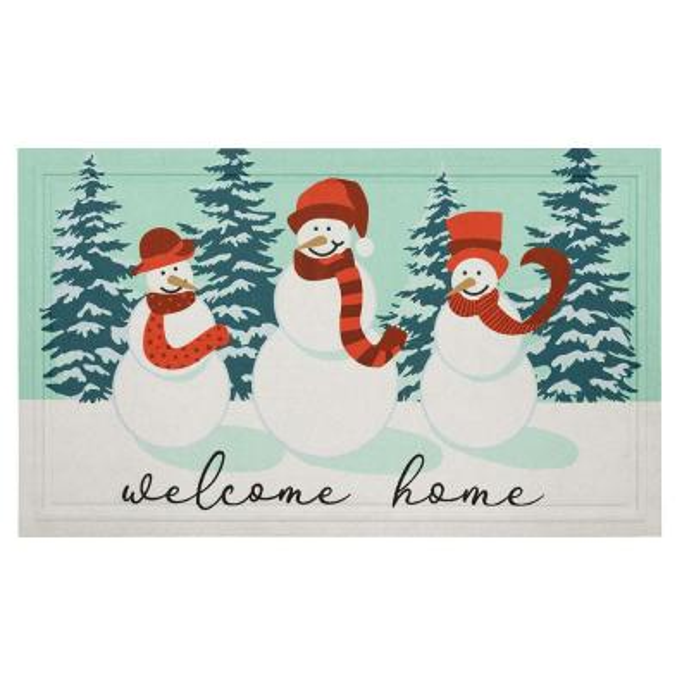 Snowman Molded Elegant Entry 18 in. x 30 in. Holiday Door Mat