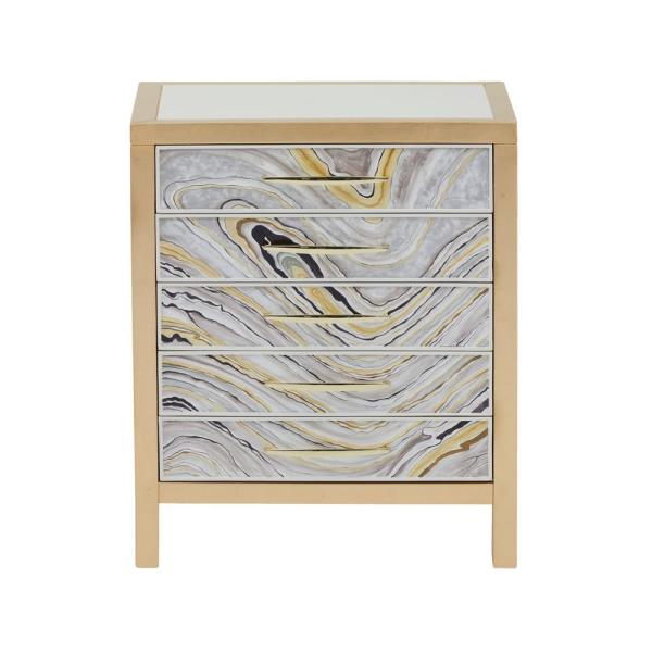 HomeFare Modern Handpainted White and Gold Swirl Accent Chest DS-D229-050