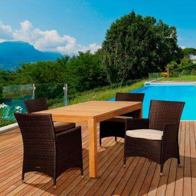 Rockenfield 5-Piece Teak Rectangular Patio Dining Set with Off-White Cushions