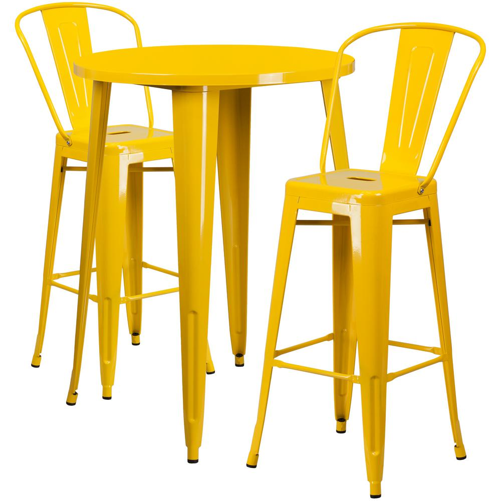 Flash Furniture In Round Yellow Metal IndoorOutdoor Bar Table - Metal cafe table and chairs