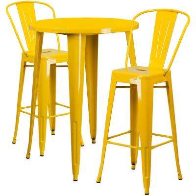 Yellow 3-Piece Metal Round Outdoor Bar Height Bistro Set