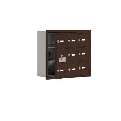 19100 Series 22.75 in. W x 18.75 in. H x 5.75 in. D 8 Doors Cell Phone Locker R-Mount Keyed Locks in Bronze
