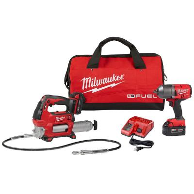 M18 FUEL 18-Volt Lithium-Ion Brushless Cordless 1/2 in. Impact Wrench with Friction Ring Kit with Free M18 Grease Gun
