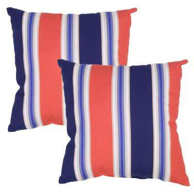 Poolside Stripe Square Outdoor Throw Pillow (2-Pack)