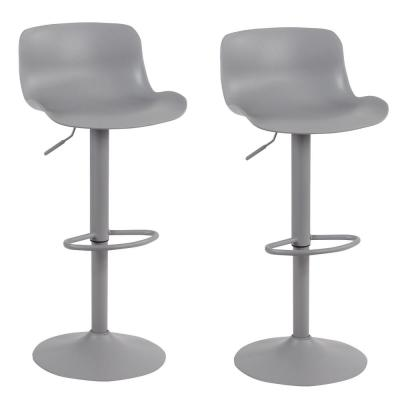 Grey Adjustable Height Solid Color Monochromatic Bar Stool (Set of 2)