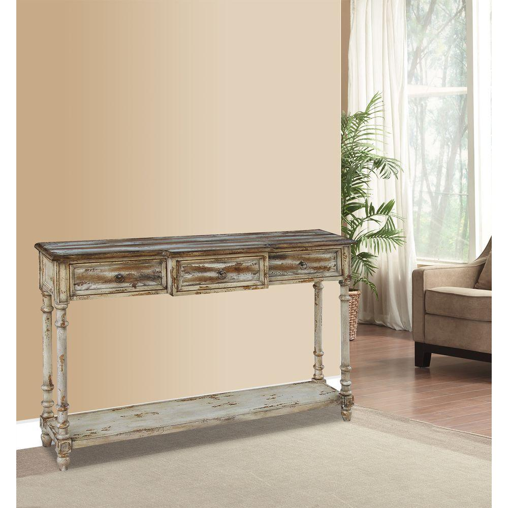 Pulaski furniture breakfront multi tone ivory juliet storage console table ds 517126 the home depot