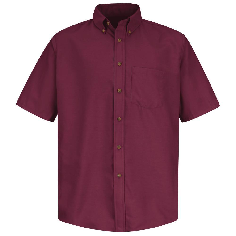 Red Kap Men S Size 3xl Burgundy Poplin Dress Shirt Sp80by Ss 3xl
