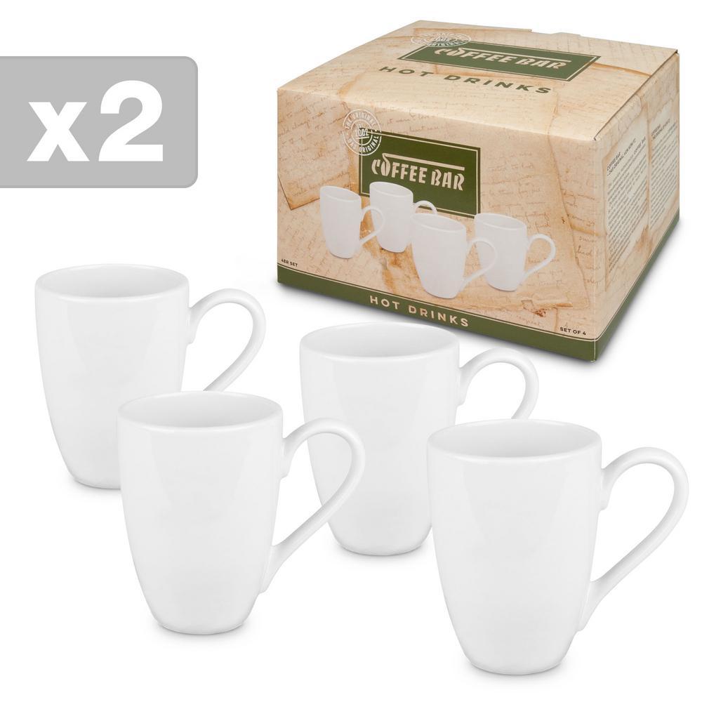 Konitz 8-Piece White Coffee Bar #9 Porcelain Mug Sets Gift Boxed