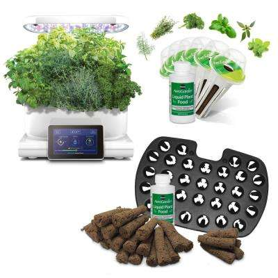 AeroGarden Harvest Touch, White with Gourmet Herbs Seed Pod Kit and Bonus Seed Starter System
