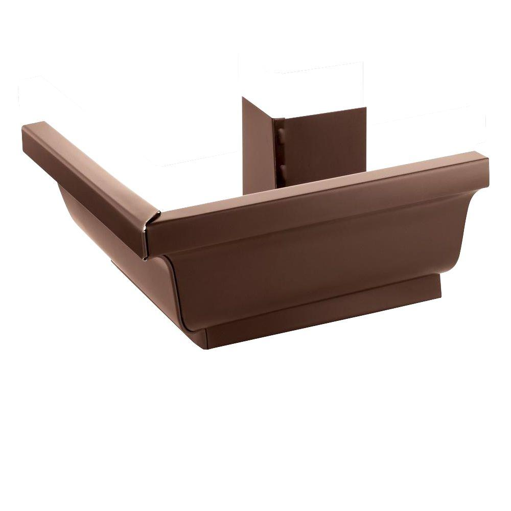 Amerimax Home Products PRO 5 in. Brown Aluminum K-Style Outside Box Miter