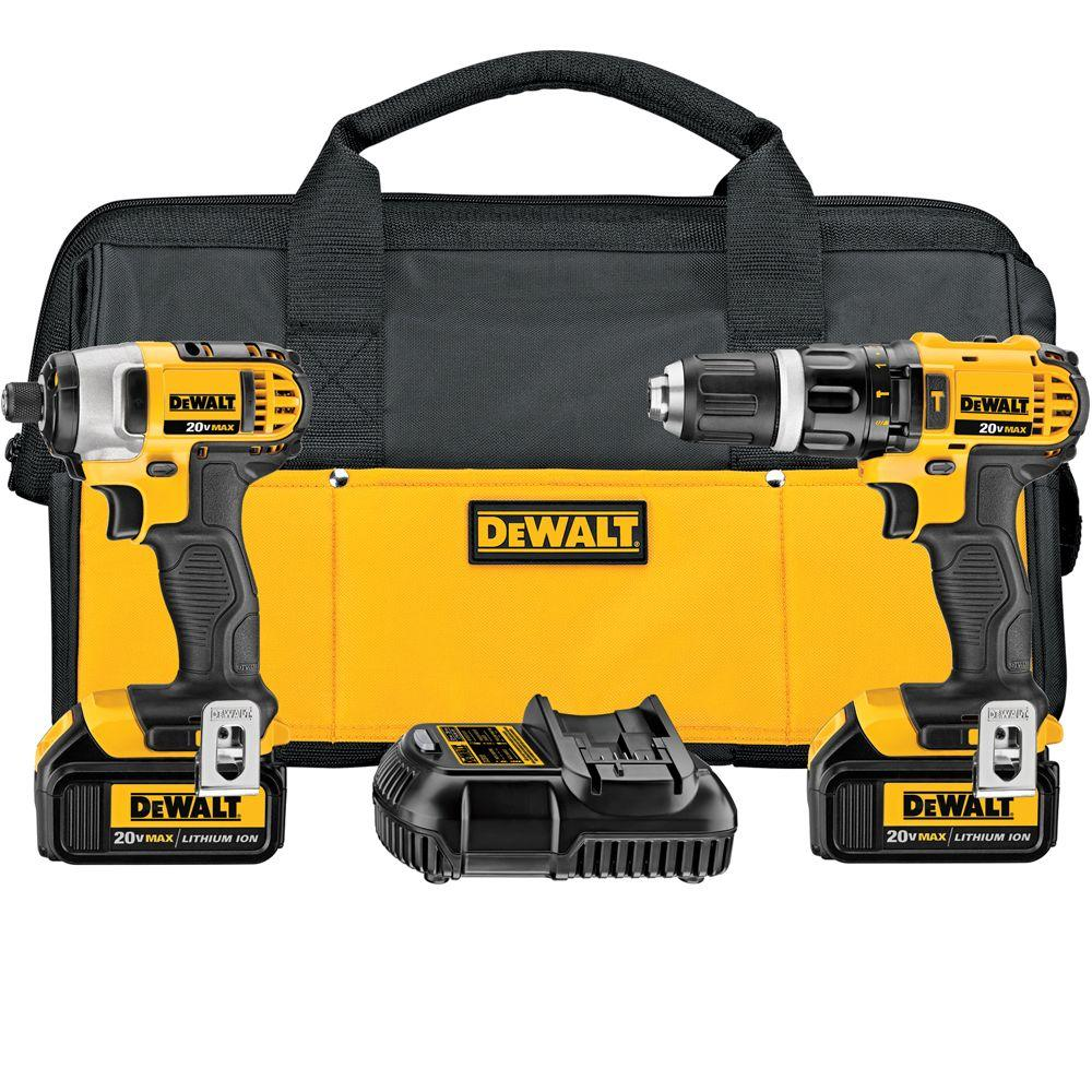DEWALT 20-Volt MAX Lithium-Ion Cordless Hammer Drill/Impact Driver Combo Kit (2-Tool) with (2) Batteries 3Ah, Charger and Bag